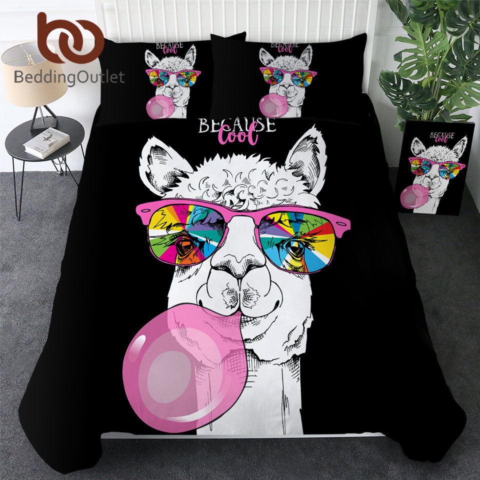 BeddingOutlet Llama Duvet Cover Rainbow Glass Bedding Set Pink Bubble Home Textiles Cartoon Alpaca Unicorn Bed Coverlet For Kids