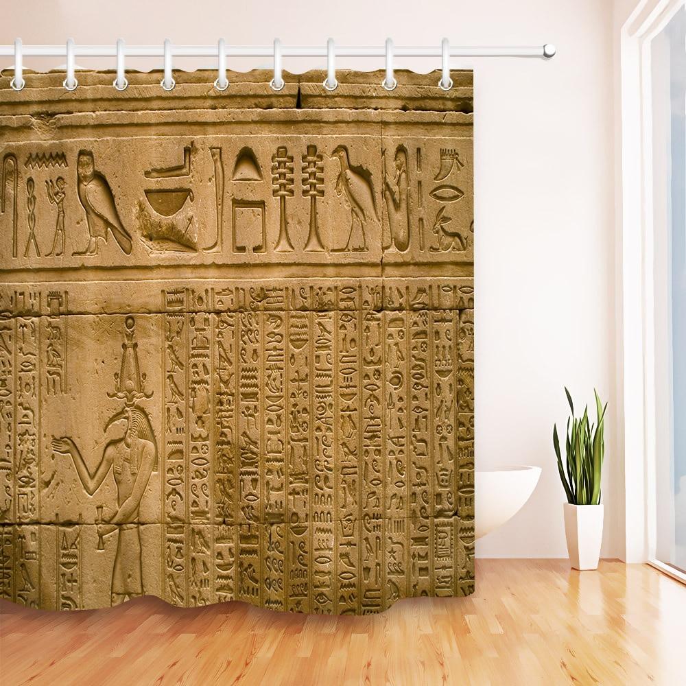 Retro egípcio hieróglifos impressão antiga cortina de chuveiro do banheiro conjunto à prova dwaterproof água tecido artístico banheira decoração com ganchos