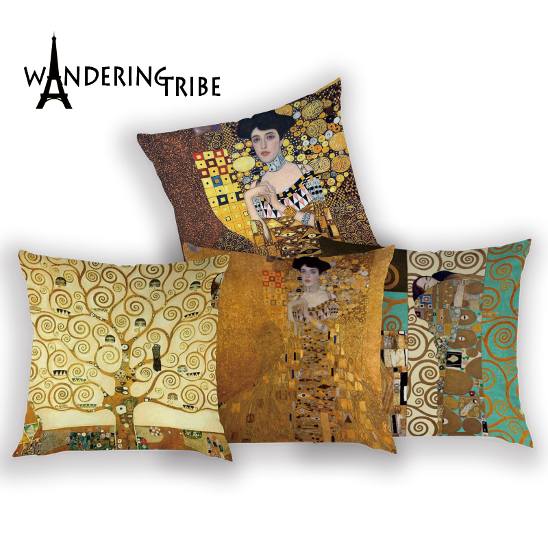 Gustav Klimt Oil Painting Pillow Case Gold Pattern Print Cushion Cover Vintage Decorative Pillow Cover Sofa Chair Pillow Case