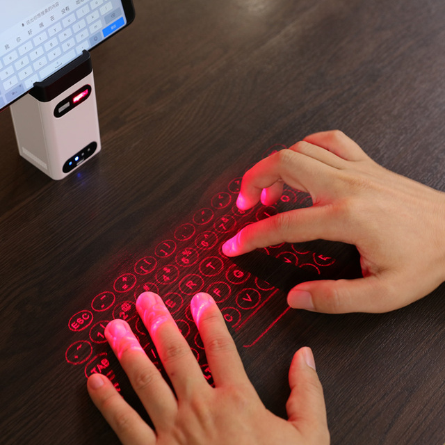 LEING FST Virtual Laser Keyboard Bluetooth Wireless Projector Phone Keyboard For Computer Iphone Pad Laptop With Mouse Function 3