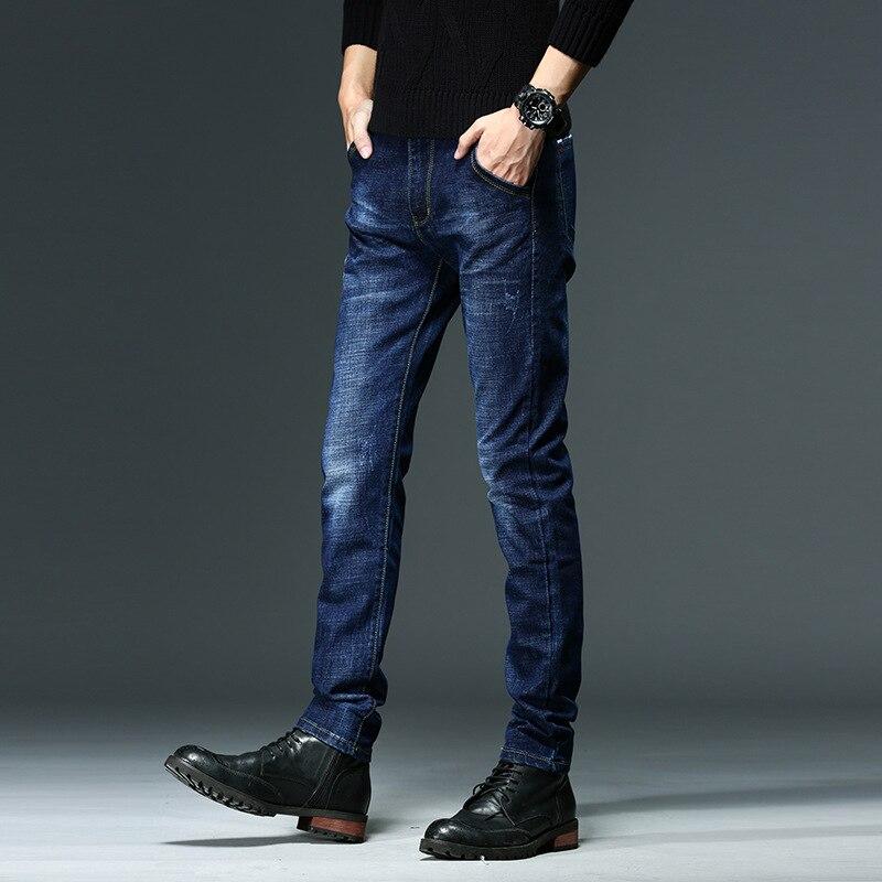 2018 Jeans Men's Autumn Elasticity Slim Fit Pants Straight-Cut Youth Medium Waist Men's Trousers Casual Slim Fit MEN'S Pants