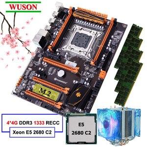 Chegada nova huananzhi deluxe desconto x79 placa-mãe de jogos com slot m.2 cpu intel xeon e5 2680 c2 2.7 ghz ram 16g (4*4g) recc
