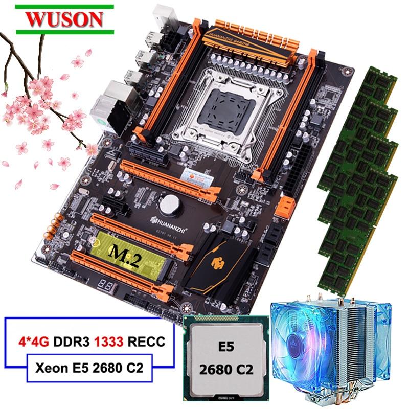 Nouveauté HUANANZHI deluxe discount X79 carte mère de jeu avec M.2 slot CPU Intel Xeon E5 2680 C2 2.7GHz RAM 16G (4*4G) RECC