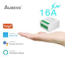 AUBESS 16A Tuya WiFi Mini Smart Switch DIY Switch Smart Life Push Module Supports 2 Way APP Voice Relay Timer Google Home Alexa