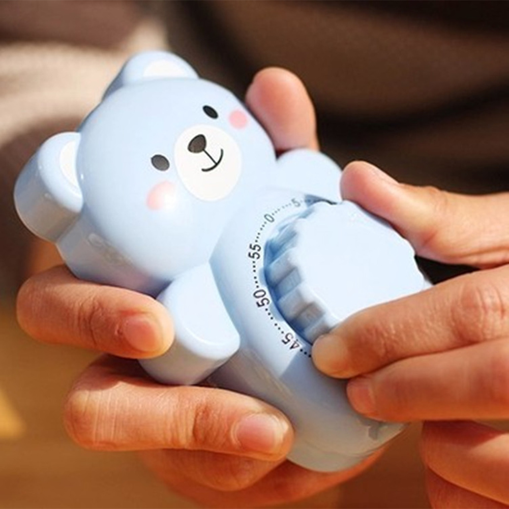 Temporizador de cocina temporizador mecánico portátil temporizador de tiempo 60 minutos alarma de cocina Accesorios para el hogar contador de oso de dibujos animados