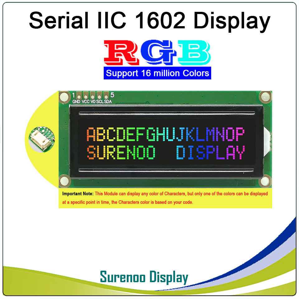 Grove 162 16X2 1602 3.3-5V Serial IIC I2C FSTN Negative Character LCD Module Display Screen LCM Panel With RGB Backlight