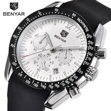 BENYAR hombres reloj marca superior de lujo hombre correa de silicona impermeable deporte cuarzo cronógrafo militar reloj de pulsera hombres reloj relogia