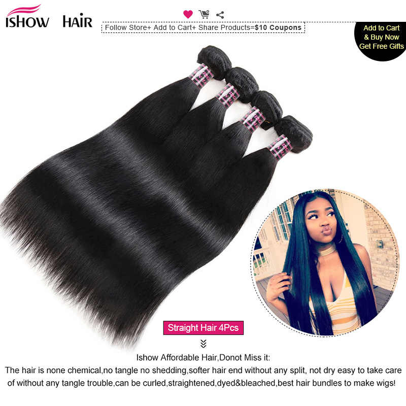 Ishow Brazilian Hair Weave Bundles Straight Hair Bundles Natural Color 100% Human Hair Bundles Non-Remy Brazilian Straight Hair