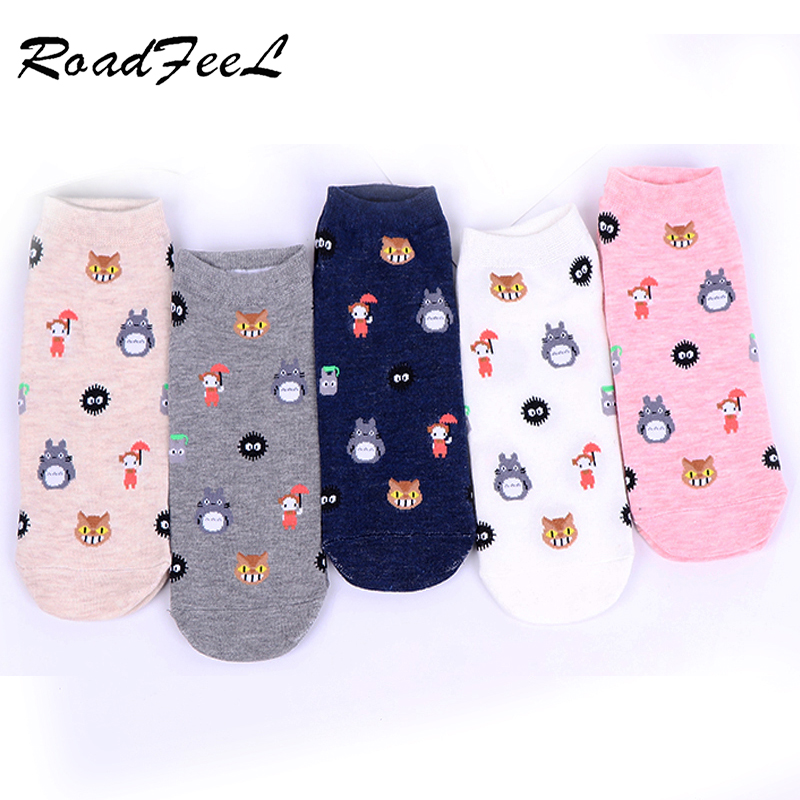 Women's Fashionable Cute Totoro Printed Socks Cartoon Harajuku Cotton Ladies Socks Animal Cartoon Cotton Socks 5 Colors 1 Pair
