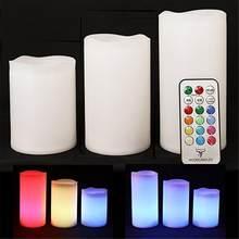 Pçs/set 3 Controll Remoto Recarregável Luz do Chá LEVOU Velas Fosco Luz do Chá Sem Chama Multi-Mudando a cor da Vela Do Partido Da Lâmpada