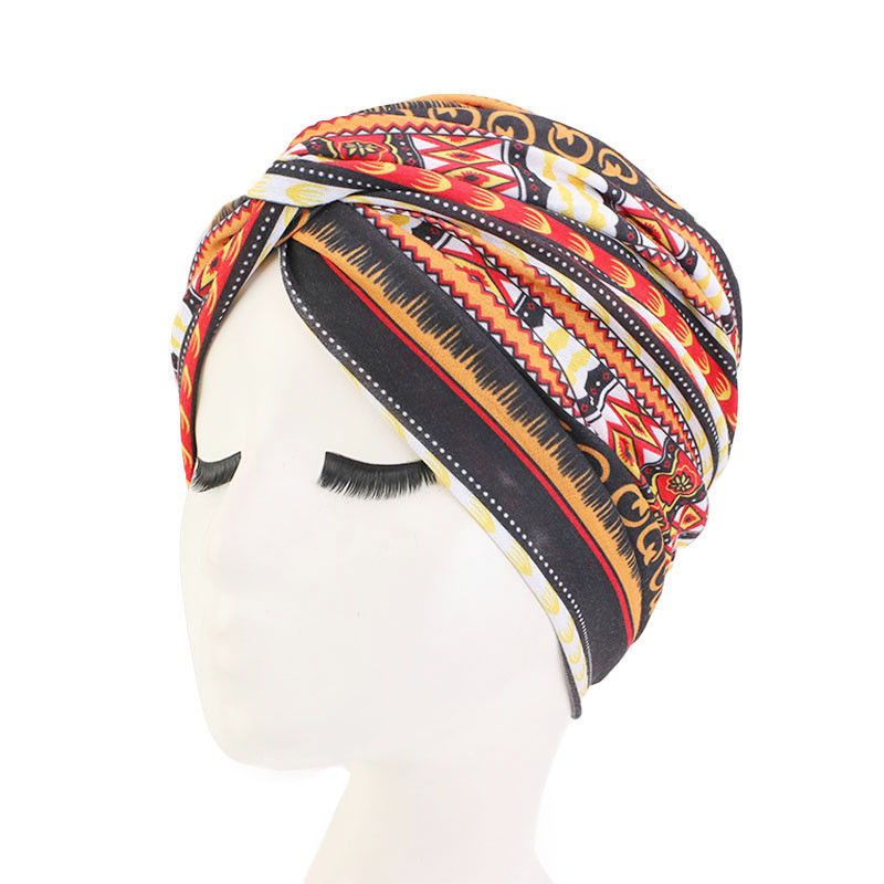 New Women Print Flower Knot Cancer Ruffle Chemo Hat Beanie Scarf Turban Head Wrap Knitted Cap Hair Loss Accessories