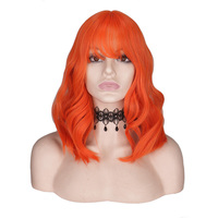 QQXCAIW Short Wavy Orange Wig Bangs/Fringe Women Black Blue Female Mixed Pink Heat Resistant Synthetic Hair Wigs Cosplay Party