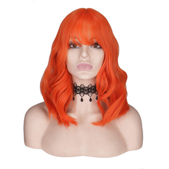 QQXCAIW Short Wavy Orange Wig Bangs/Fringe Women Black Blue Female Mixed Pink Heat Resistant Synthetic Hair Wigs Cosplay Party rh0862 fast shipping new wig stocking cosplay short blue pink gradient mixed heat resistant wig d special discount 35%