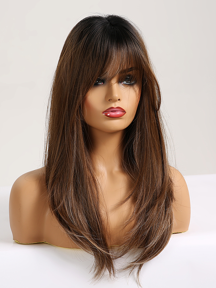 Straight Wigs Bangs Heat-Resistant Brown EASIHAIR Black Natural Long Ombre Women