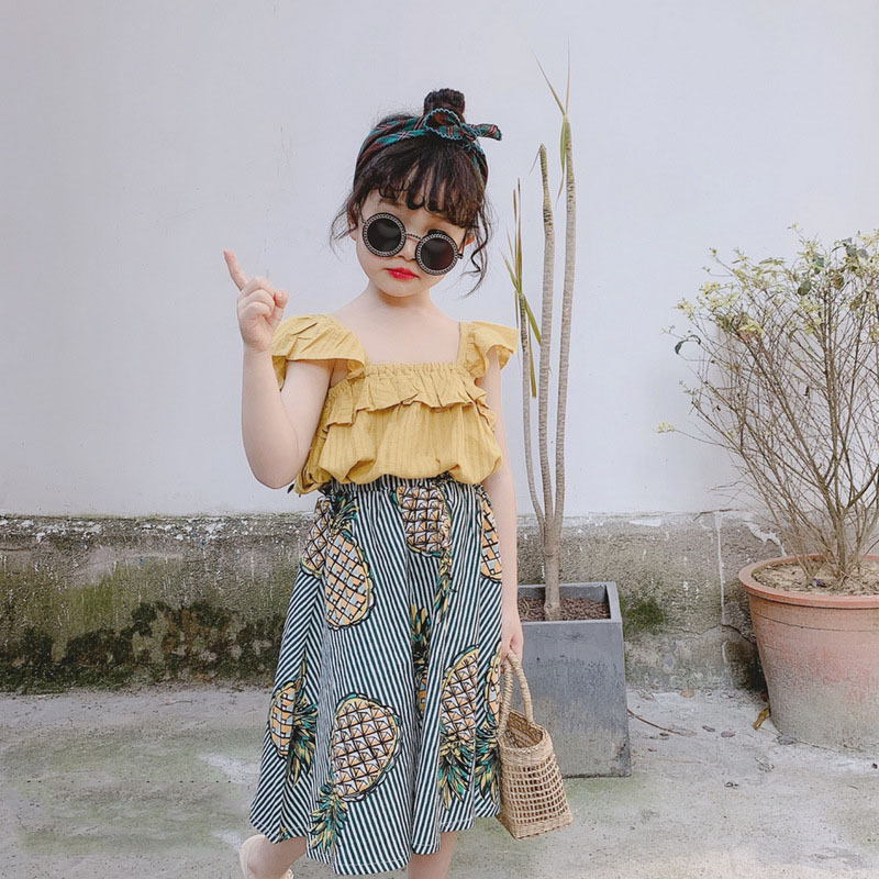 H5b6a0ce4174b490c90d56cca54676afb0 Humor Bear Girls Clothing Set 2020 Korean Summer New Ice Cream Bow T-shirt+Pants Kids Suit Toddler Baby Children's Clothes