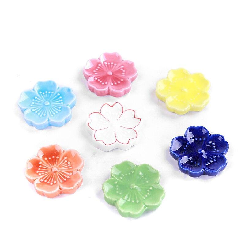 Ceramic Cherry Blossom Chopsticks Stand Multicolor Cherry Blossom Chopsticks Rack Pen Holder Ceramic Crafts