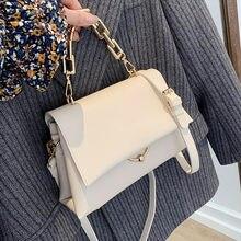 Petits sacs à bandoulière à rabat en cuir PU pour femmes, Design de chaîne, sacs à main à épaule jaunes pour dames, marque de luxe célèbre, 2021