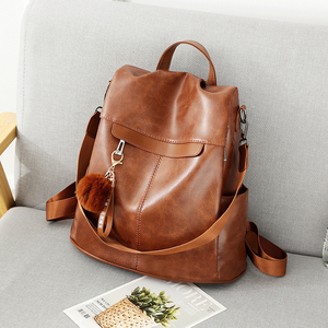 Image 1 - Women Backpack High Quality Vintage Oil Wax PU Leather Bagpack 2020 New Waterproof Anti theft Ladies Leisure Travel Back Pack