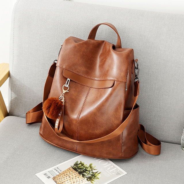 Women Backpack High Quality Vintage Oil Wax PU Leather Bagpack 2020 New Waterproof Anti theft Ladies Leisure Travel Back Pack