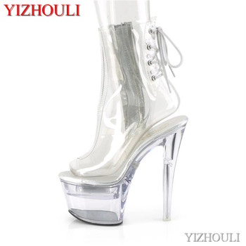 Full transparent vamp 17cm, PU material 7 inch model stiletto heels, summer night club pole dancing ankle boots