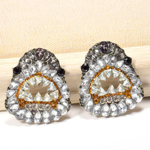 Wholesale ZA Studded With Full Colorful Crystals Drop Earrings Fashion Vivid Design Fine Jewelry Accessories For Women