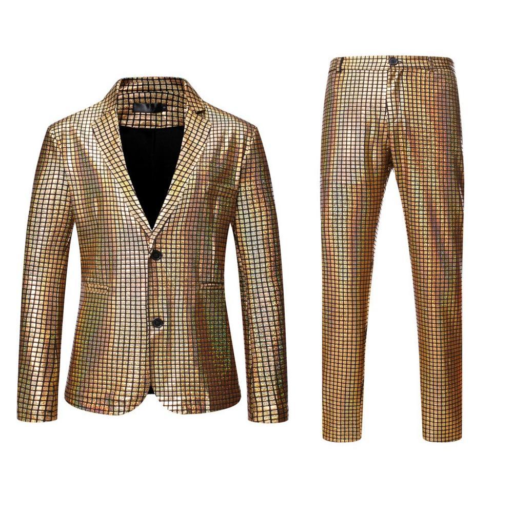 2020 New Men Dancer Stage Performance Suits Gold Silver Plaid Sequin Blazer Pants Disco Festival Party Wedding Groom Tuxedo
