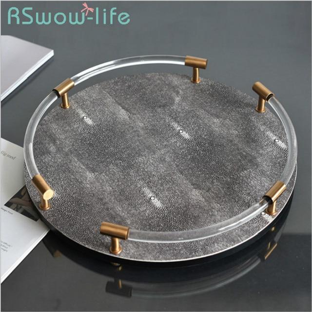 37*6cm Round Devil Fish Glass Trays Decoration Storage Trays Fruit Snack Food Tray Serving Tray For Kitchen Storage
