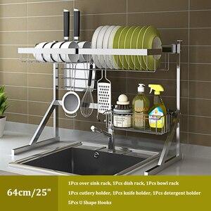 Image 5 - Évier, étagère pour le séchage de la vaisselle, support pour la vaisselle, gain de place, en acier inoxydable