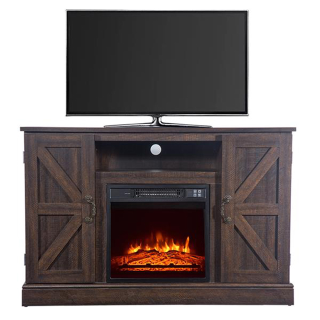 47'' Log Brown TV Cabinet with 1400W Fireplace Heater  2