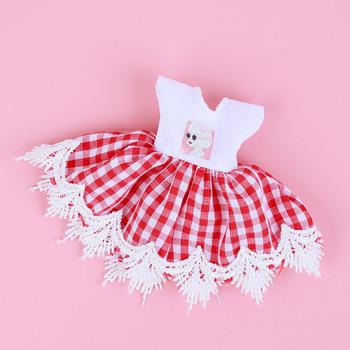 1/8 BJD Dolls Clothes Set 16-18 CM BJD Dolls Lace Flower Dress Sweater 6 Inch BJD Dolls Tops With Skirt For Girls Dolls Clothes - Red Plaid