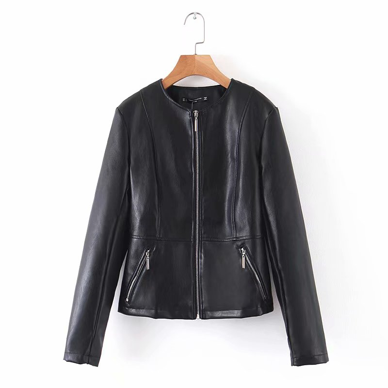 Stylish Autumn Women O-Neck Pu   Leather   Jacket Casual Female Long Sleeve Zippers Coat for Girls Streetwear Outerwear