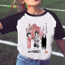 Футболка женская в стиле Харадзюку, милая рубашка Тоторо в стиле ольчжан, Миядзаки Хаяо, смешная футболка с рисунком из мультфильма «Унесен...