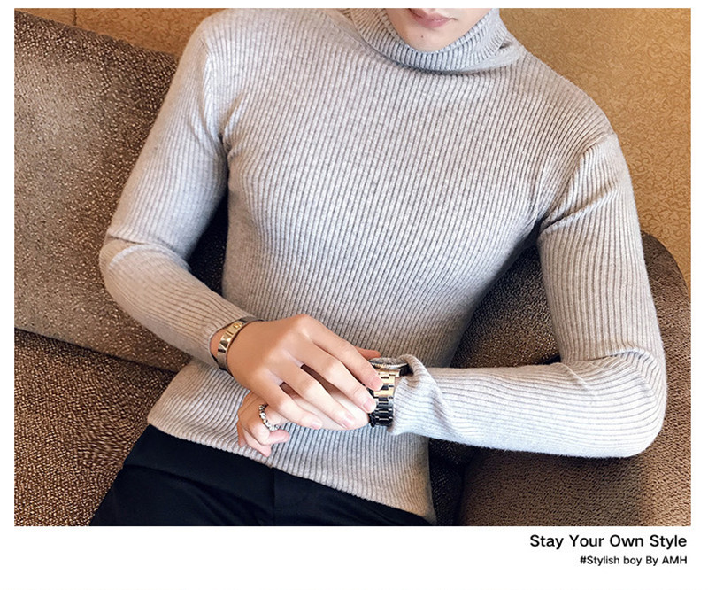 Fashion Warm Couple Casual Sweater Female Men's Turtleneck Sweater Slim Solid Color Tight Sweater Men WGMY01