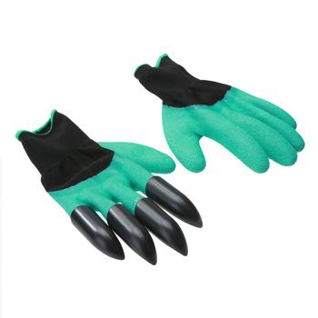 1 para rękawice ogrodowe z palcami pazury gumowe rękawice poliestrowe ogrodnicze rękawice ogrodnicze plastikowe pazury tanie i dobre opinie VKTECH CN (pochodzenie) 70-100g Garden Średni Other