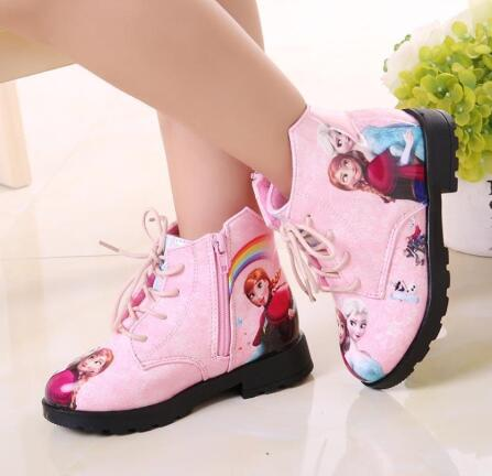 Children Princess Elsa Shoes Girl Fashion Princess Boots Autumn Girls Shoes Boots Elsa Kids Shoes Martin Boot