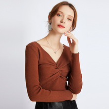 Sexy Winter Knitted Sweater Cross V Neck Cashmere Sweater Female  Women Sweaters And Pullovers Autumn Long Sleeve Sweater Jumper ronnykise knitted sweaters women fashion pullovers long sleeve sexy v neck casual tops autumn and winter cashmere sweater