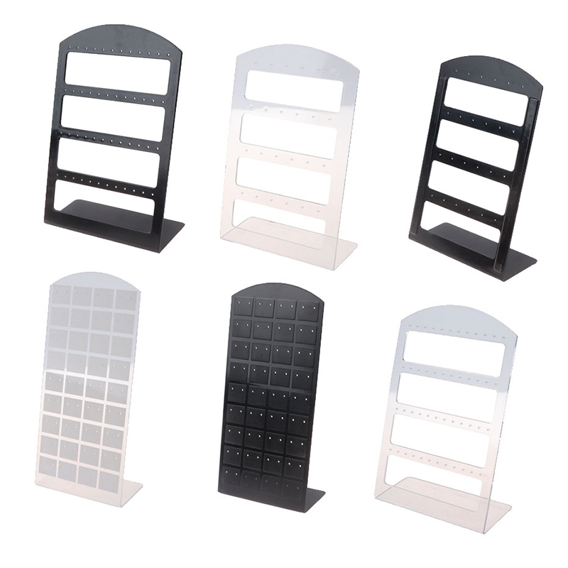 48Holes/24Holes Jewelry Organizer Stand Black Plastic Earring Holder Pesentoir Earrings Display Rack Etagere Jewelry Display