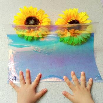Laser Iridescent Holographic Film Clear Transparent PVC Fabric Rainbow Shiny Vinyl Material Bow Craft Bag 1pcs/lot