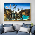 Salvador Dali Swans Reflecting Elephants Canvas Painting Art Posters and Abstract Print Wall Picture Living Room Decor Cuadros