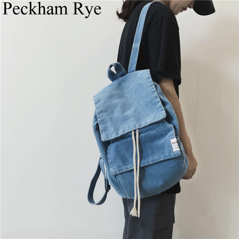 Denim Backpack Women Men Large Capacity Shoulder Bag Travel Backpack Casual Jeans Bagpack School Bags Designer Mochila Feminina