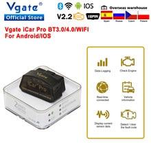 Vgate icar pro elm 327 bluetooth 4.0 obd2 scanner de diagnóstico do carro obd 2 wifi elm327 v2.2 ferramenta de verificação automática odb2 para android/ios