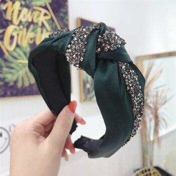 Soie cristal brillant noeud bandeaux pour femmes Patchwork bandeau cheveux accessoires bandeau couronne fleur bandeaux tête