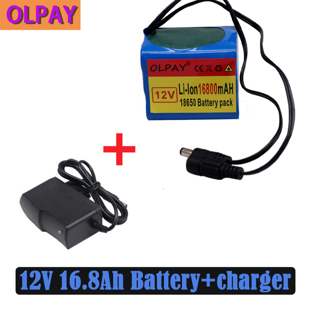 3S3P Original 12V 16.8Ah 16800mAh 18650 Rechargeable Batteries 12V With BMS Lithium Battery Protection Plate + 12.6V Charger