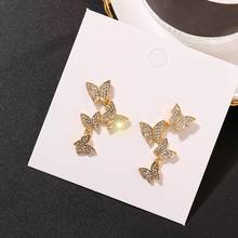 Multi Layers Butterfly Drop Earrings For Women 2019 New Rhinestone Party Jewelry