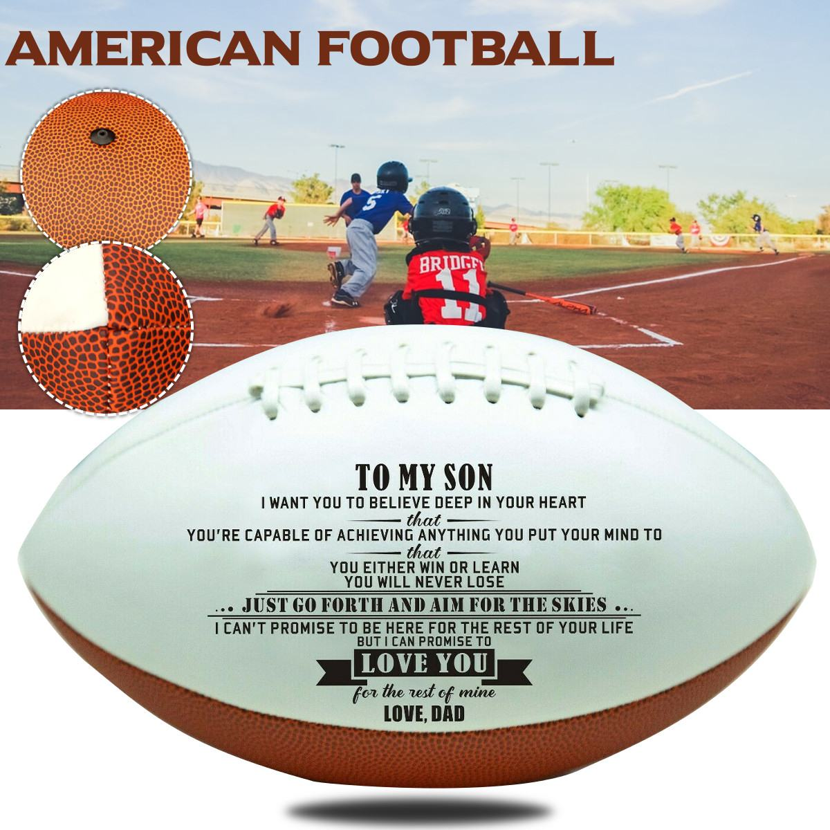 No.9 Mini Soft Standard PU Foam American Football To My Son Dad Engraved Soccer Training Exercise Anniversary Birthday Gift