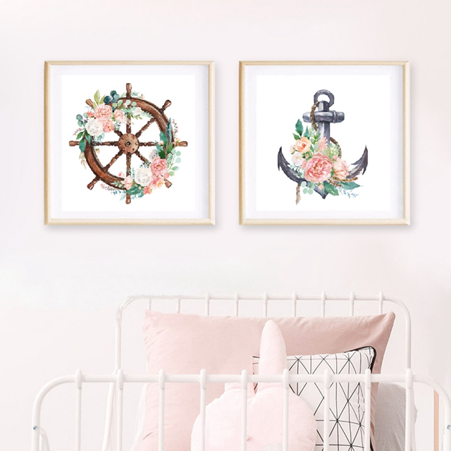 Настенная живопись на холсте, мореходный морской цветочный постер для детей, скандинавский постер, якорь, руль, принты для девочек, декор дл...