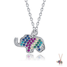ZEMIOR Animal Necklace For Women Pendant Colorful Zircon Elephant Choker Necklaces Sterling Silver 925 Jewelry Hot Selling