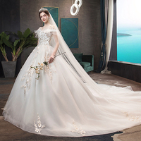 White Wedding Dresses Long Length lace flower Sweet Heart Fashion Fantasy Sexy Trailing Bridal Skirt