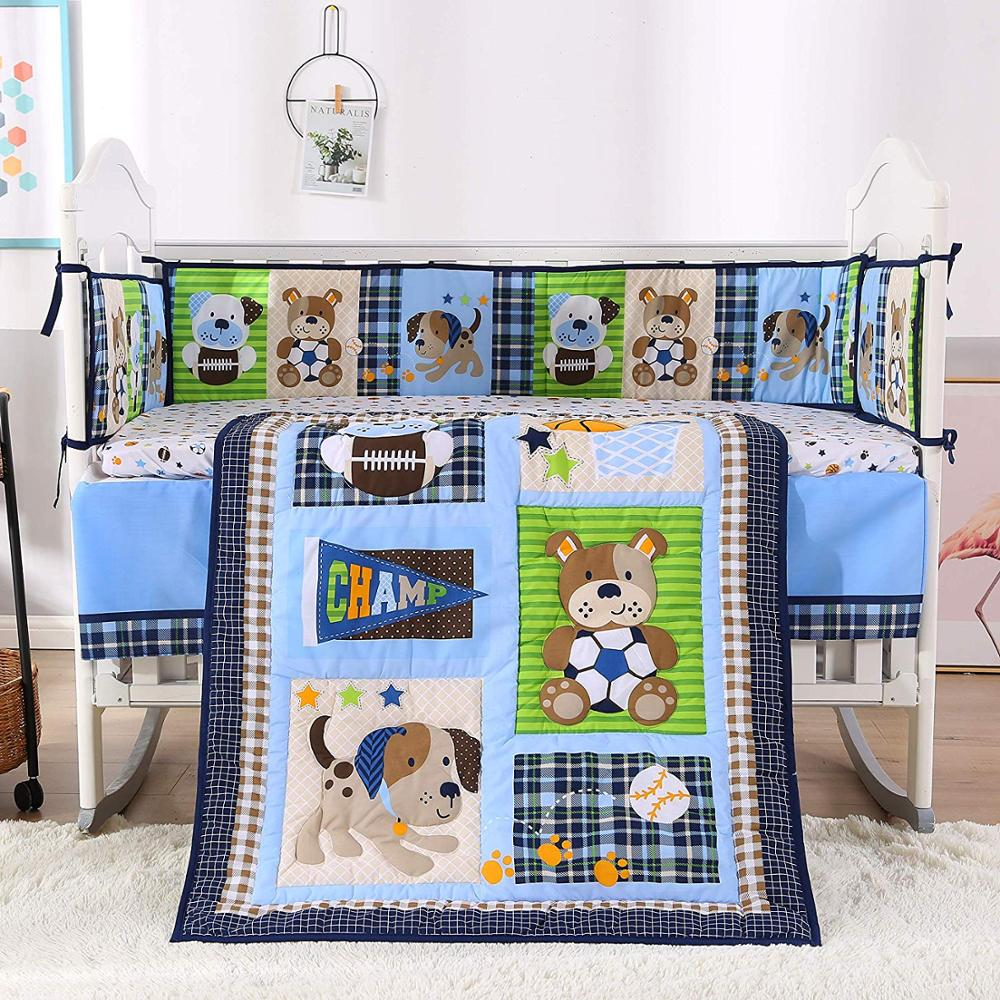 7PCS Embroidered Bedding Cribs Baby Bedding Sets Crib Set Cotton Nursery Crib Set For Boys (4bumper+duvet+bed Cover+bed Skirt)