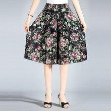 Mulheres verão casual solto chiffon cintura elástica perna larga na altura do joelho saia calças femininas senhora de cintura alta média idade mãe calças